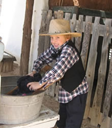 Learning about the olden days - washing clothes
